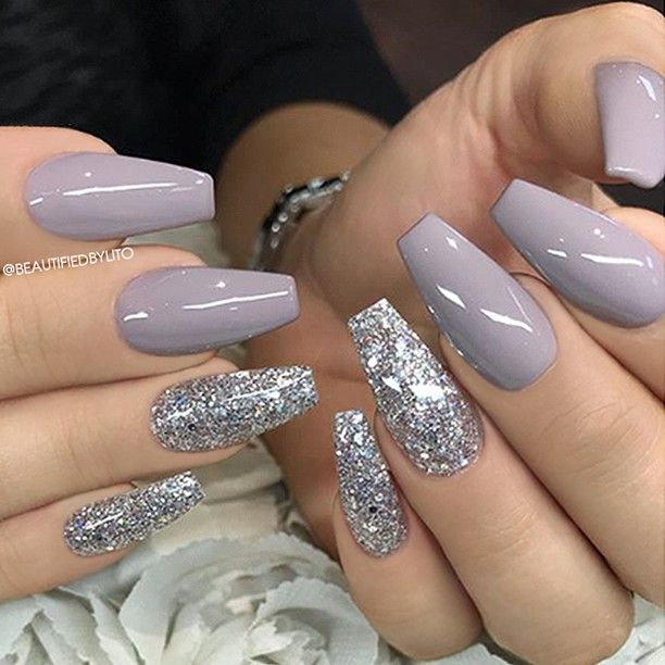 Christmas Acrylic Nails Grey: - Lilac-Grey And Glitter On Coffin Nails