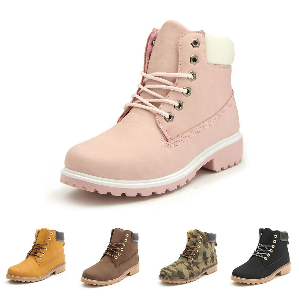 Winter Fur Womens Snow Boots Faux Leather Outdoor Hiking Lace Ankle Booties For Women Pink 38