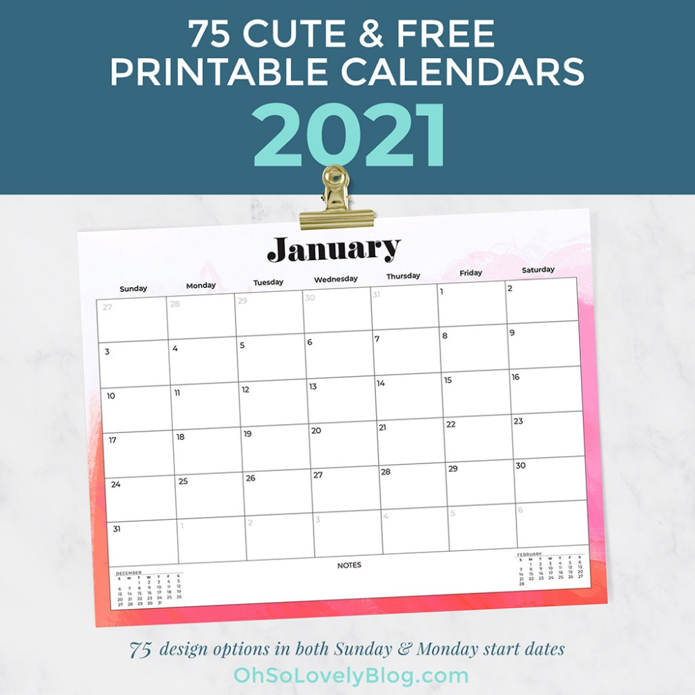 Free 2021 Calendars 75 Beautiful Designs To Choose From In 2020 Free Printable Calendar Calendar Printables 2021 Calendar