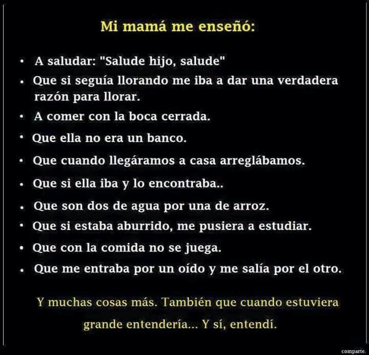 Mama Me Enseno Poemas Para Mama Frases Para Mama Chistes De Mama