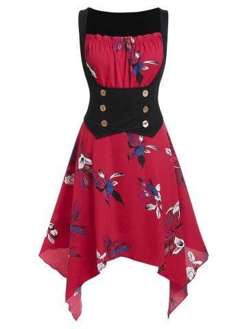 plus size handkerchief corset waist floral dress avec