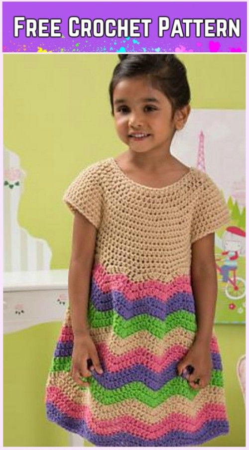 Crochet Girl\'s Chevron Dress Free Patterns-Video | Ganchillo ...