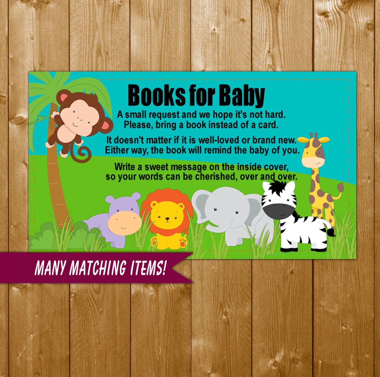 Safari Animals Baby Shower Book Request Insert Card, Safari Neutral