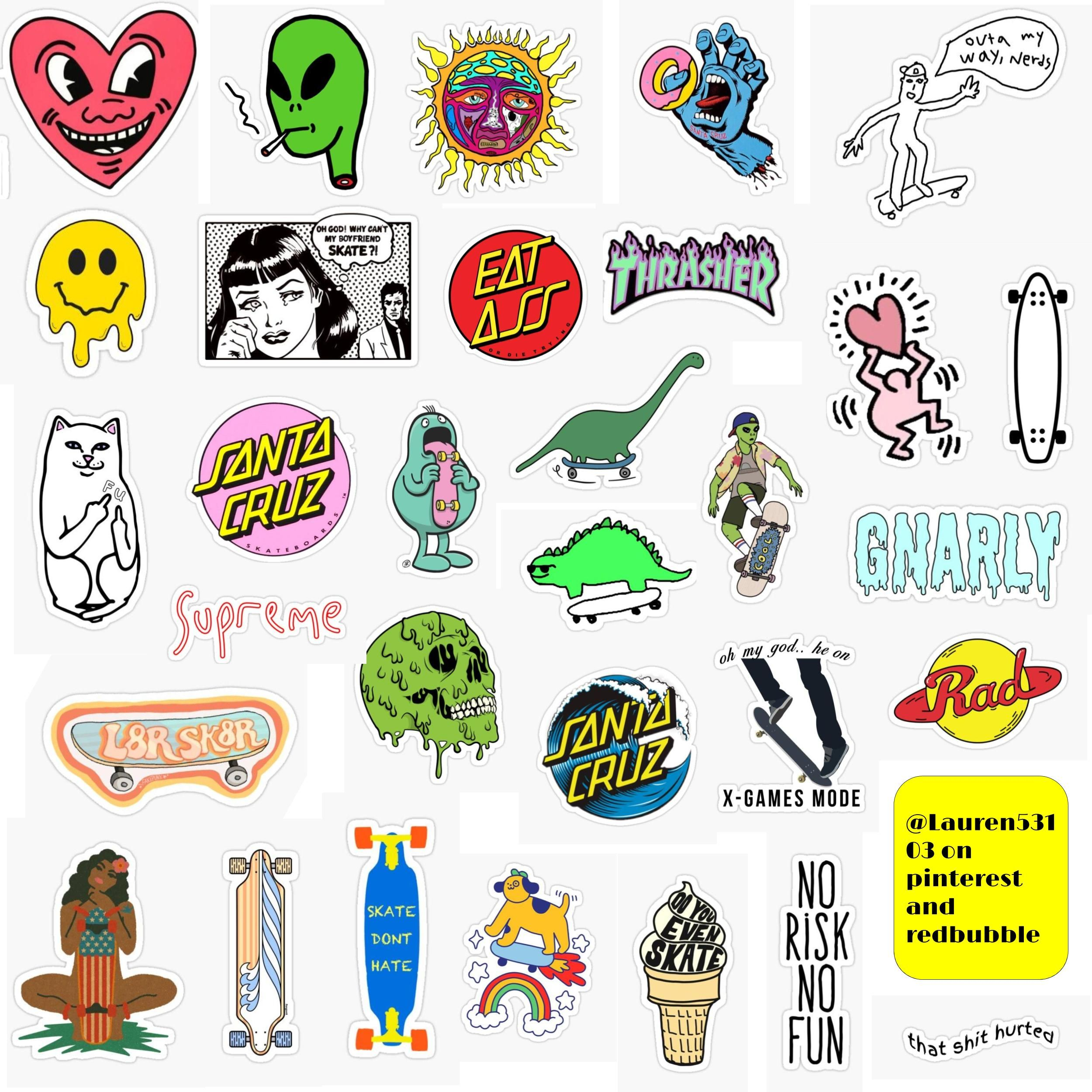 Skateboard Stickers Sticker By Lauren53103 In 2020 Skateboard Stickers Indie Drawings Print Stickers