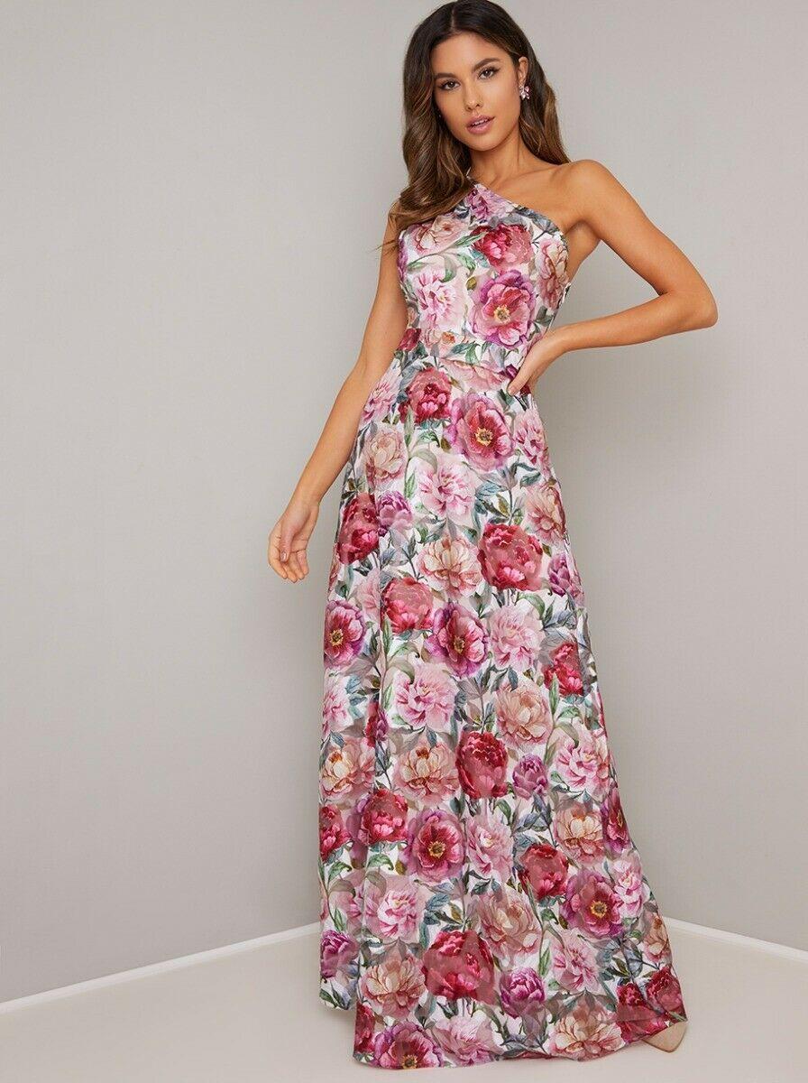 Vestiti Eleganti A Fiori.Abito Vestito Elegante Cerimonia Da Sera Matrimonio Sposa Lungo