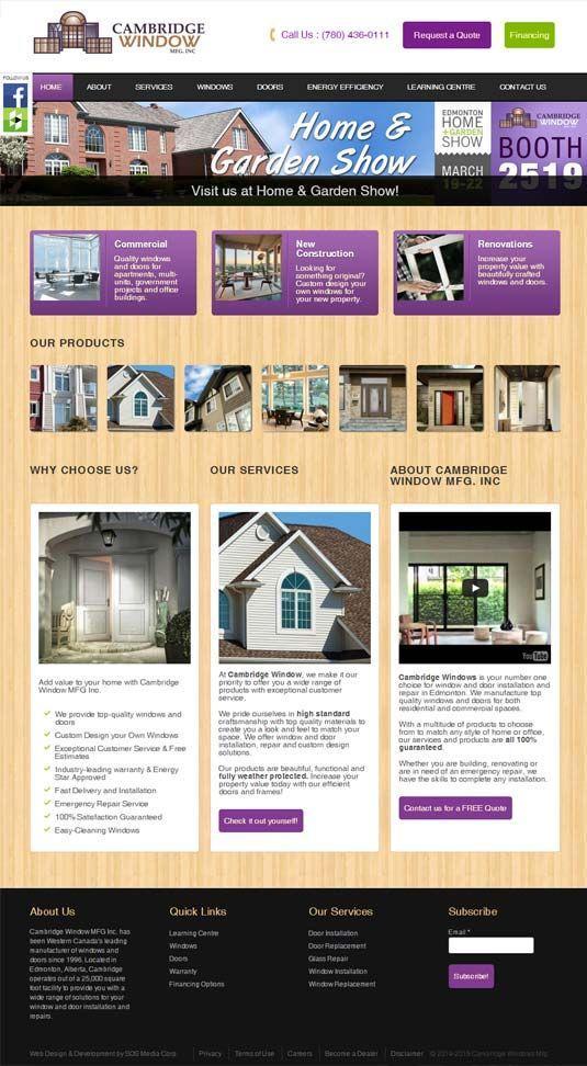 Web Design For Cambridge Window Mfg Web Design Window Manufacturers Web Design Projects