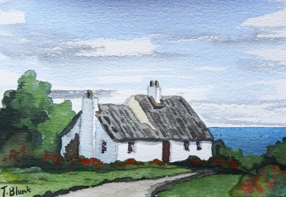 original aquarell cottage in cornwall antiquit ten kunst kunst aquarelle ebay. Black Bedroom Furniture Sets. Home Design Ideas