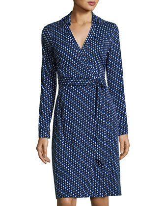 New Jeanne Two Dash-Print Wrap Dress, Blue by Diane von Furstenberg at Neiman Marcus Last Call.