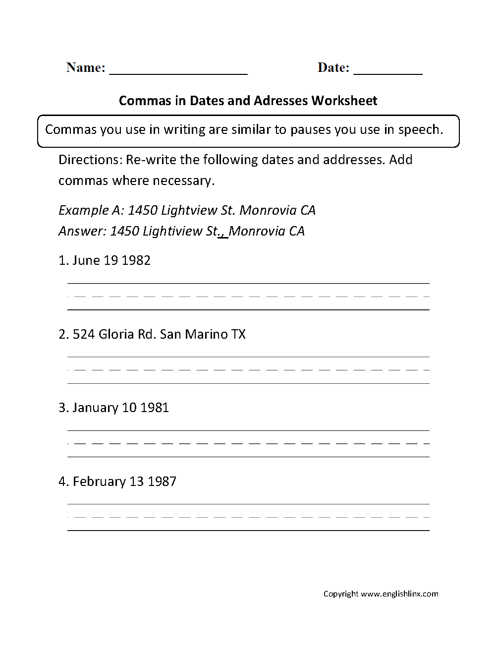 worksheet Dates Worksheet commas in dates and addresses worksheet english worksheets worksheet