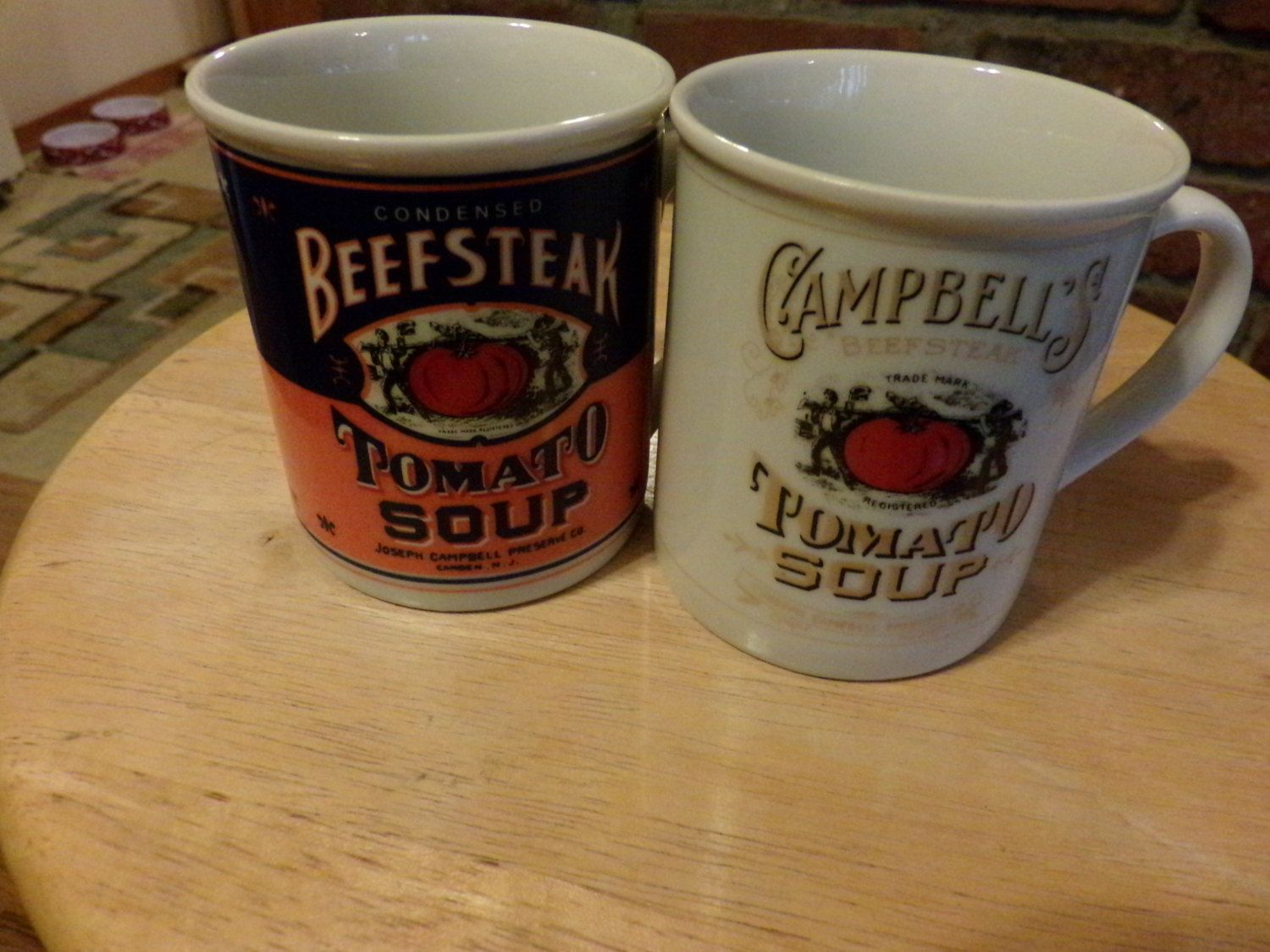 Campbell\'s Soup 125th anniversary coffee mugs, Campbell\'s Beefsteak ...