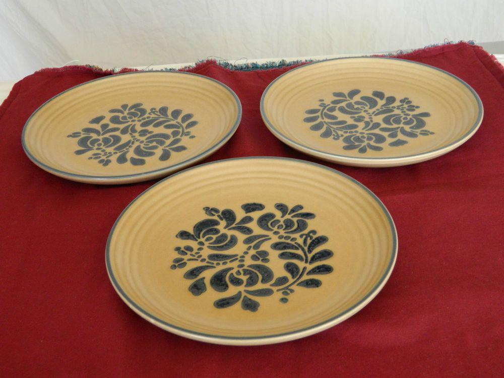 Pfaltzgraff set of 3 dinner plate 10 ¼u201d u2013 folk art patternu2013 tan with blue floral & Pfaltzgraff set of 3 dinner plate 10 ¼u201d u2013 folk art patternu2013 tan with ...