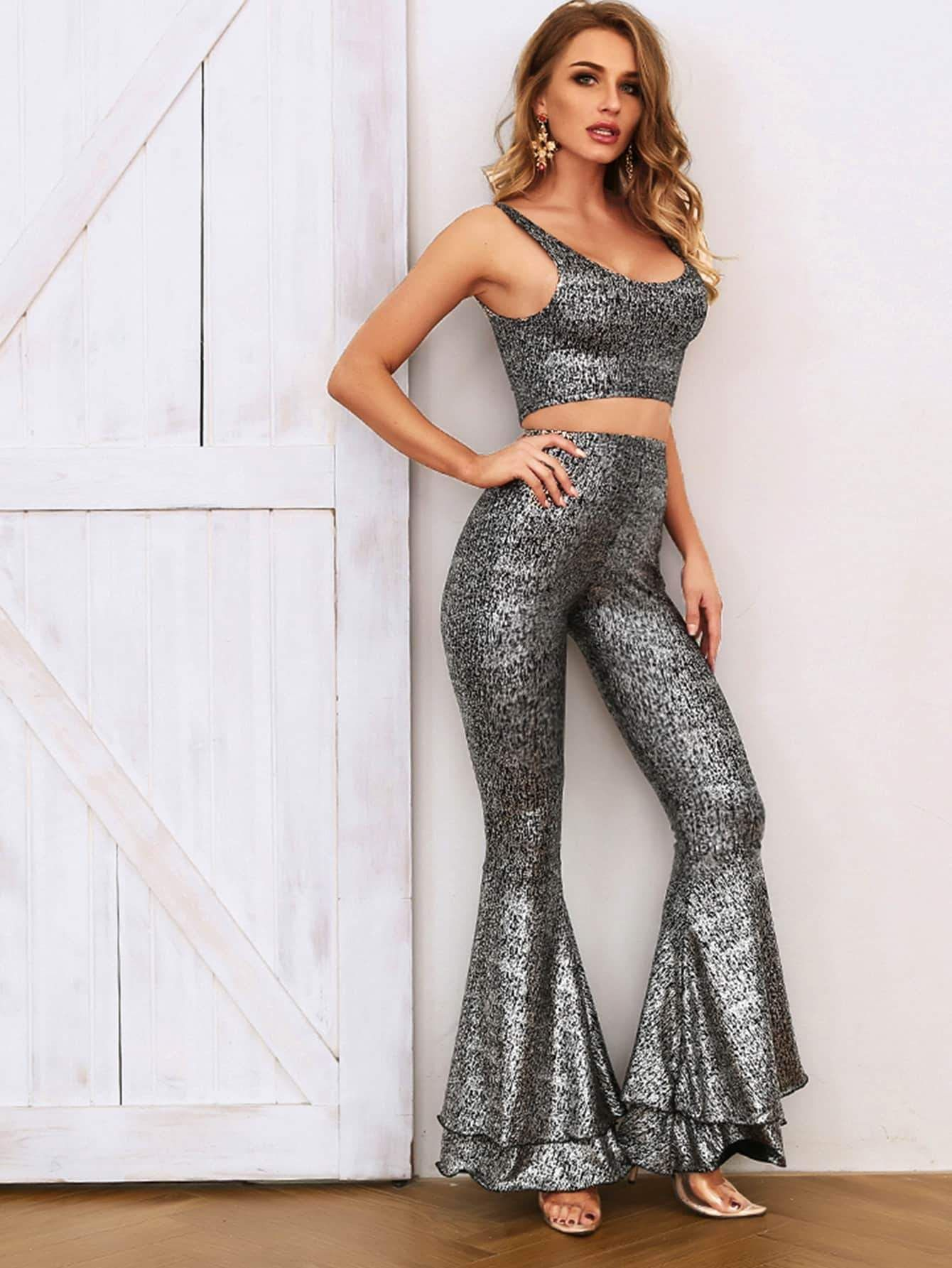 9397e12f6a32 Thick Strap Glitter Top & Layered Flare Pants Set - Popviva #coord  #coordset