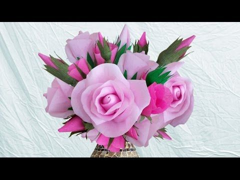 Diy crepe paper roses how to make beautiful paper rose bouquet i diy crepe paper roses how to make beautiful paper rose bouquet i diy home decoration youtube mightylinksfo