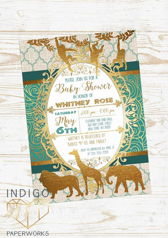 Teal And Gold Safari Baby Shower Invitation African Animals