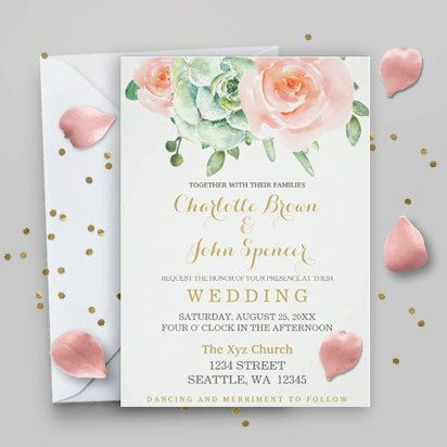 Printable watercolor celadon succulent and peach roses with gold printable watercolor celadon succulent and peach roses with gold accent wedding invitations template affordable and pronofoot35fo Images