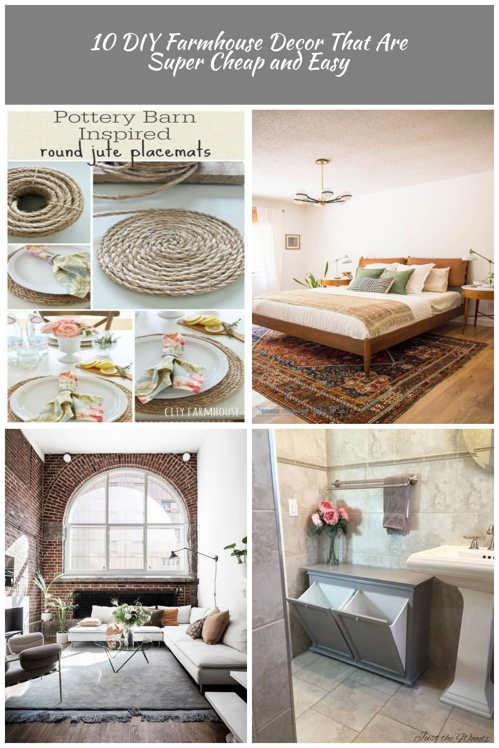 Super Easy And Cheap Diy Farmhouse Decor Ideas For Your Home Pottery Barn Inspired Round Jute Placemats And Others Diy Diy Home Decor Sandales