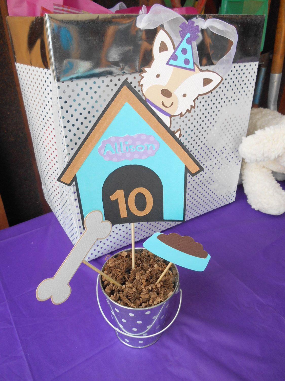 Dog theme centerpiece dog house birthday party baby