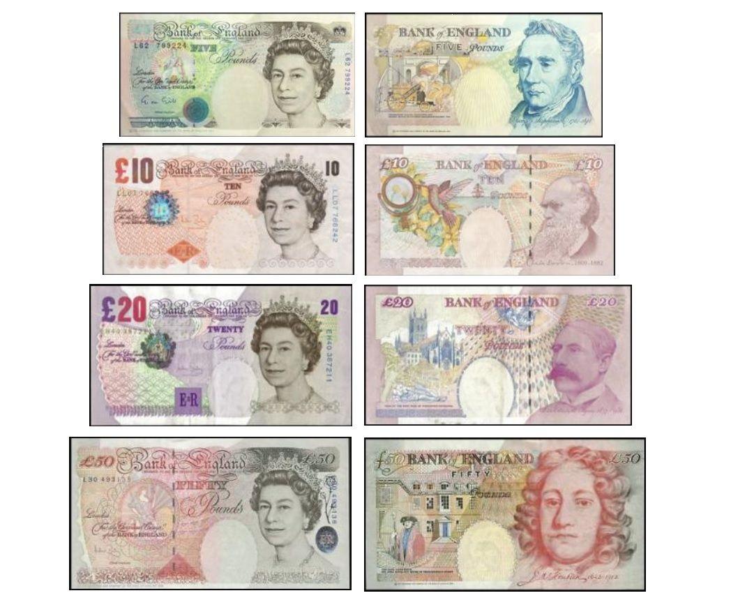 Uk Banknotes British Pound Sterling