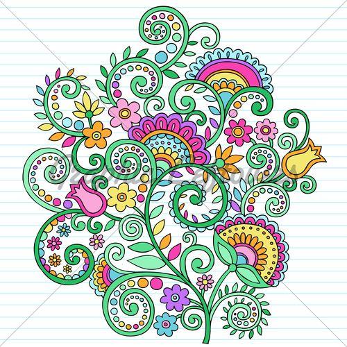 Notebook Doodle Vines Color 500x500