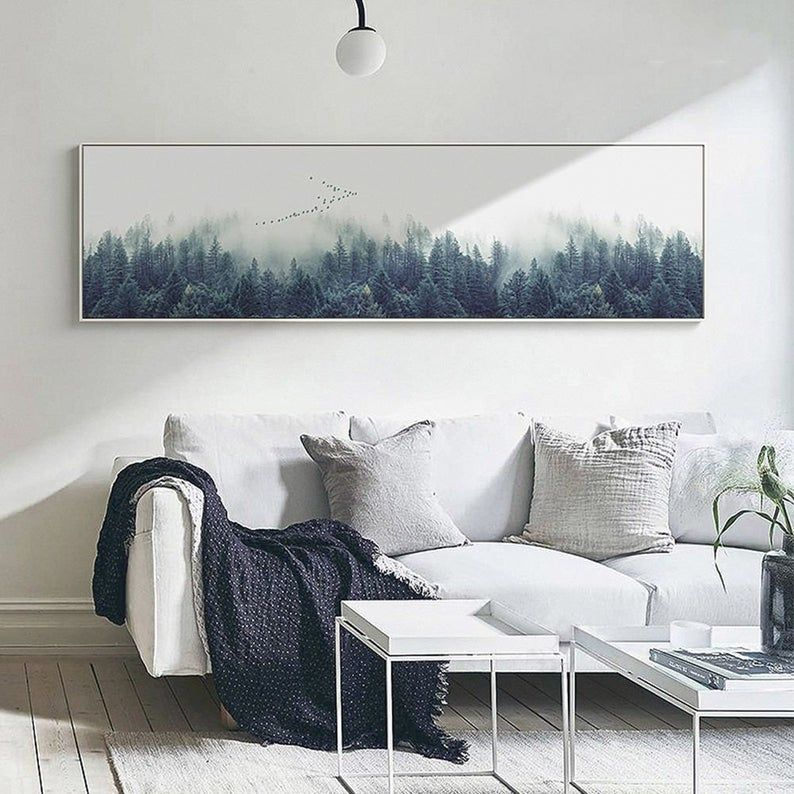 Foggy Forest Extra Large Wall Art Forest Wall Art Canvas Etsy Landscape Wall Decor Forest Wall Art Large Wall Art