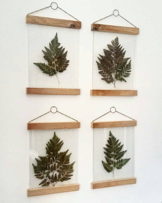 Pressed flowers wall art, botanical print set, plant lovers gift, pressed leaves, modern farmhouse wall decor, plant room decor, fern art #makeflowers
