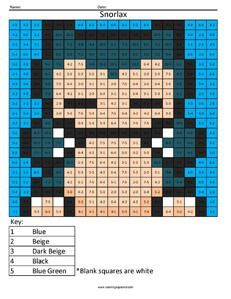 Print The PDF To Use Worksheet Snorlax Pokemon Subtraction Solve Simple One Digit Math Facts And Key At Bottom Of Page