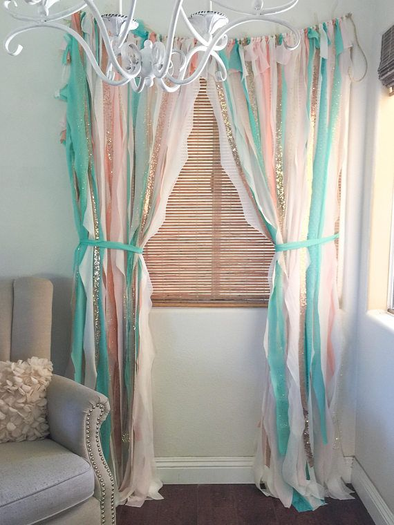 Nursery Curtains Boho Mint Pink Gold