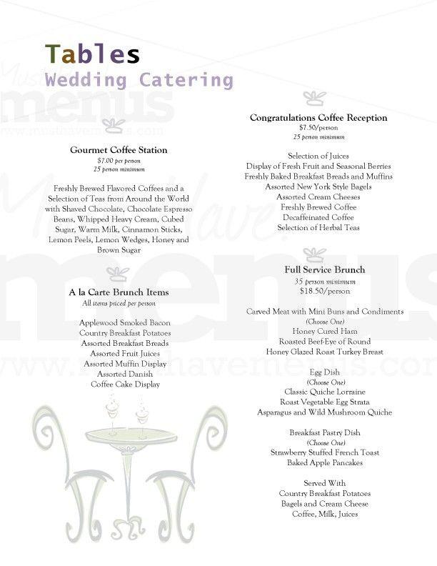 Catered Wedding Brunch Menu Idea Brunch Wedding Wedding Catering Brunch Menu