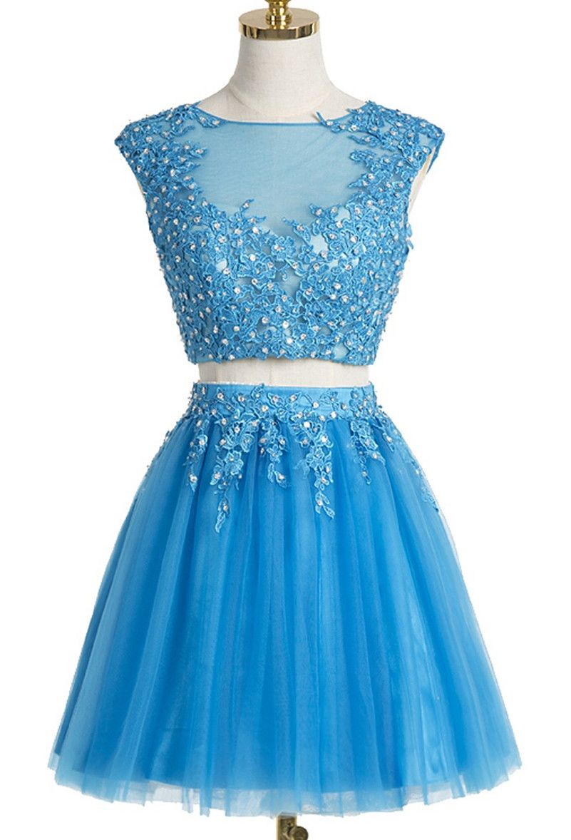 Two-piece Homecoming Dress,Scoop Short Homecoming Gown,Red Organza ...