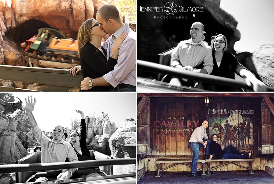 Disneyland engagement photography, idea, magic kingdom, castle, Big Thunder Mountain, Gilmore Studios