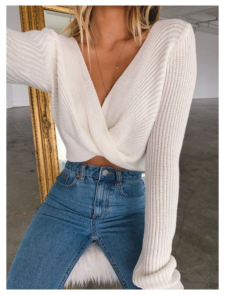 Twisted Front Knit Long Sleeve Sweater #newyork Twisted Front Knit Long Sleeve Sweater #newyork