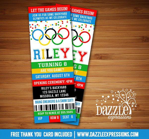 printable olympic games ticket birthday invitation
