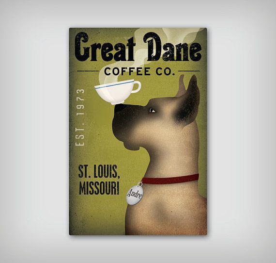 Great Dane Custom Personalized Coffee Tea Company Print Tea