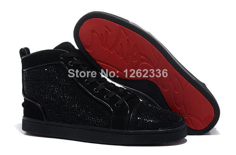 a2e4bb2c52f Women s Men s Louis Strass Flats Sneakers Rhinestone Red Bottom Shoes For  Men on Aliexpress