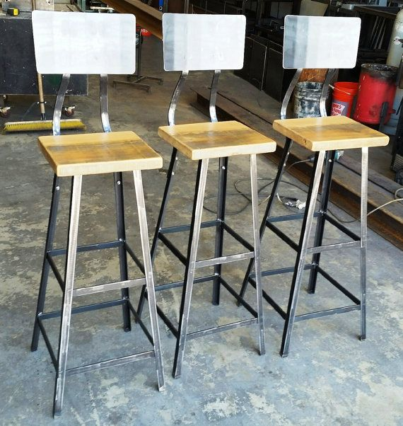 Industrial Metal Stool Chair With Reclaimed Wood Seat A Metal Base And Back Rest In Your Choice Of Heights In 2021 Metal Stool Metal Bar Stools Stool Chair Metal stool with wood seat