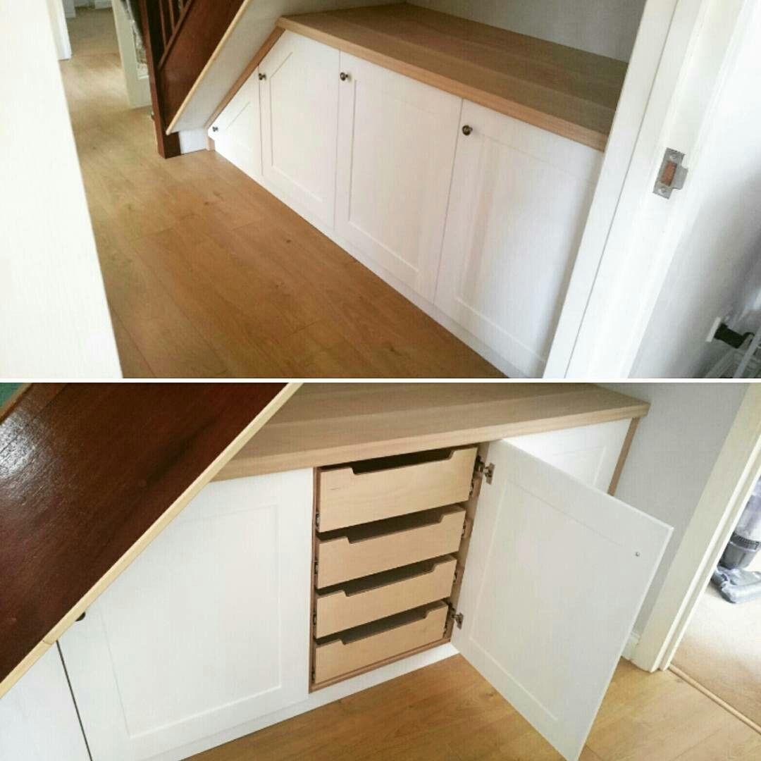 Bespoke Under Stairs Shelving: Fitted Under Stair Cupboards. Birch Plywood, Painted MDF
