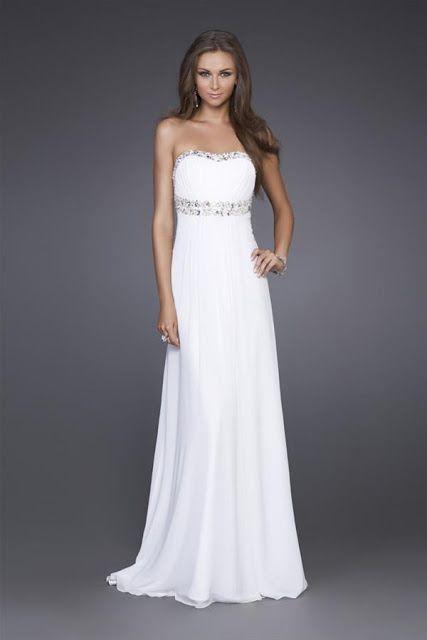 00fbedf4c9 Vestido para fiesta de promoción de color blanco