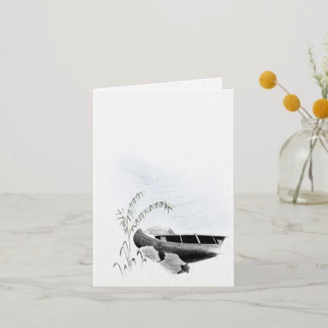Scene with Canoe Blank Note CardPeaceful Scene with Canoe Blank Note Card Casper Fishing Card  Cheers and Beers 50th Birthday Invitation Card Black Gold High Heels Womans...