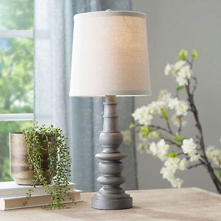 Gray Table Lamps Fascinating Weathered Gray Spool Table Lamp  Grey Table Lamps Bedrooms And Room Review