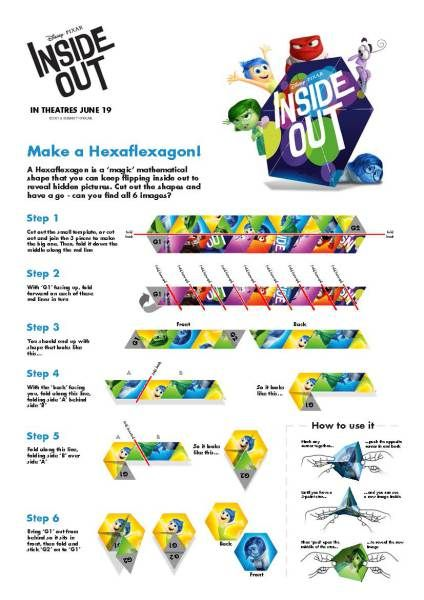 Disney\'s Inside Out Hexaflexagon Craft... And more FREE printable ...