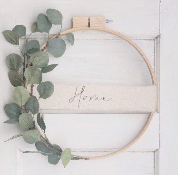 Gallery Eucalyptus Embroidery Hoop Wreath// Spring Wreath// Custom Wreath// wall decor// wall art// Front Door Wreath// Wedding Decor is free HD wallpaper.