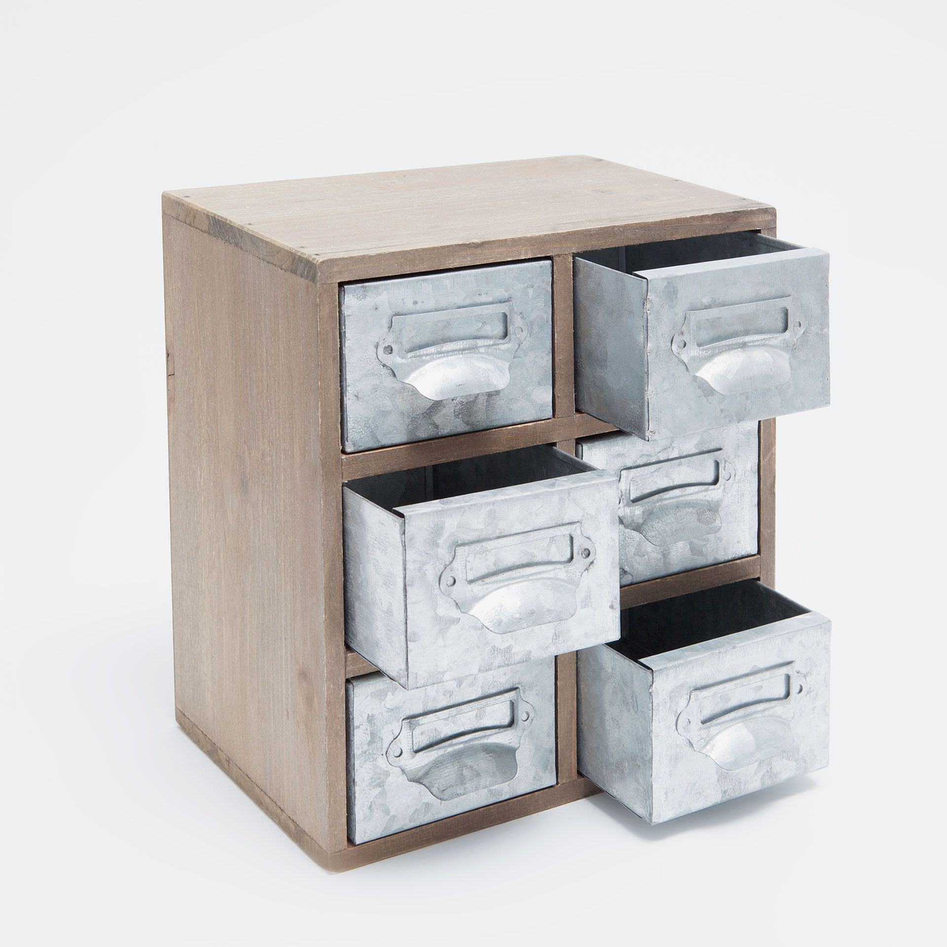 Image 2 of the product Wooden box with galvanised metal drawers ...