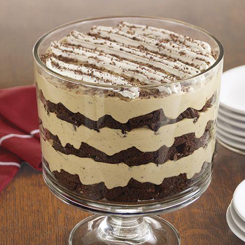 Tiramisu Brownie Trifle #trifledesserts