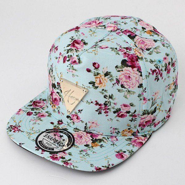 fb96ce10bdc Men Women Floral Flower Adjustable Snapback Baseball Hats Flat Hip Hop Cap