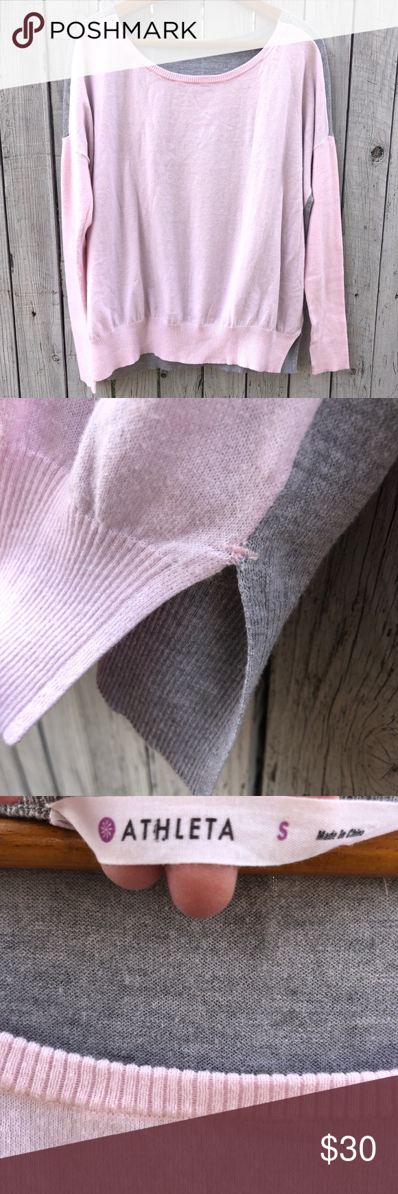 Athleta twotoned sweater EUC! Twotoned, pink in front