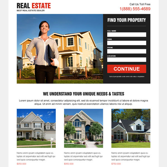 Download the best real estate lead capture landing page