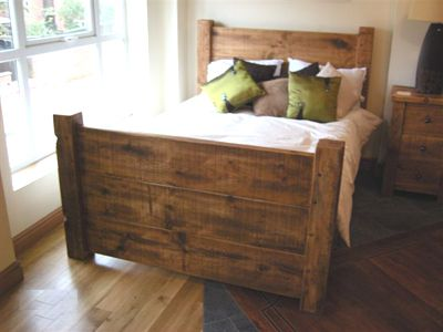 375 HandCrafted Chunky Reclaimed Wooden King SIze Bed Frame | Random ...