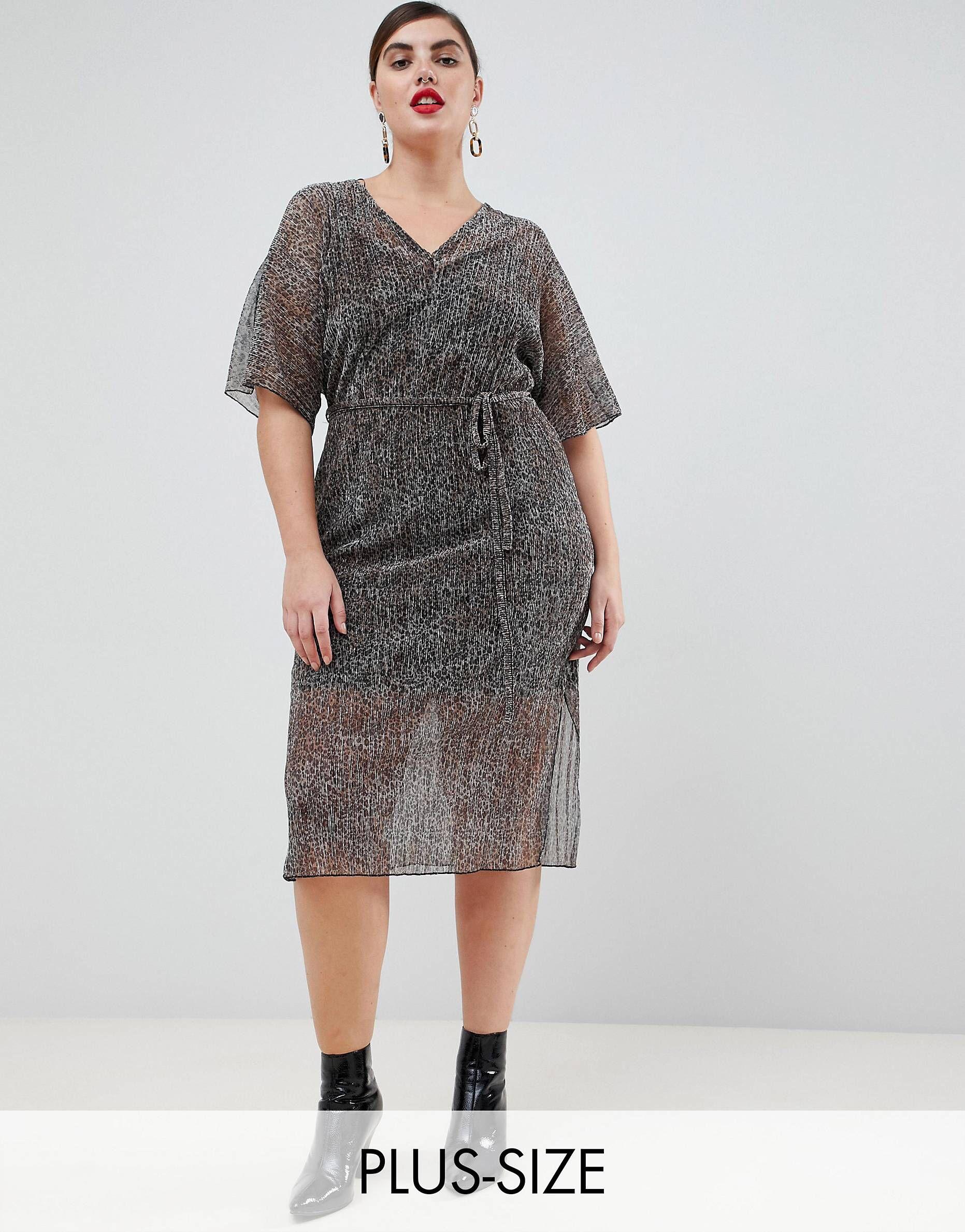 c1298e15964 River Island Plus t-shirt dress with tie waist in metallic animal ...