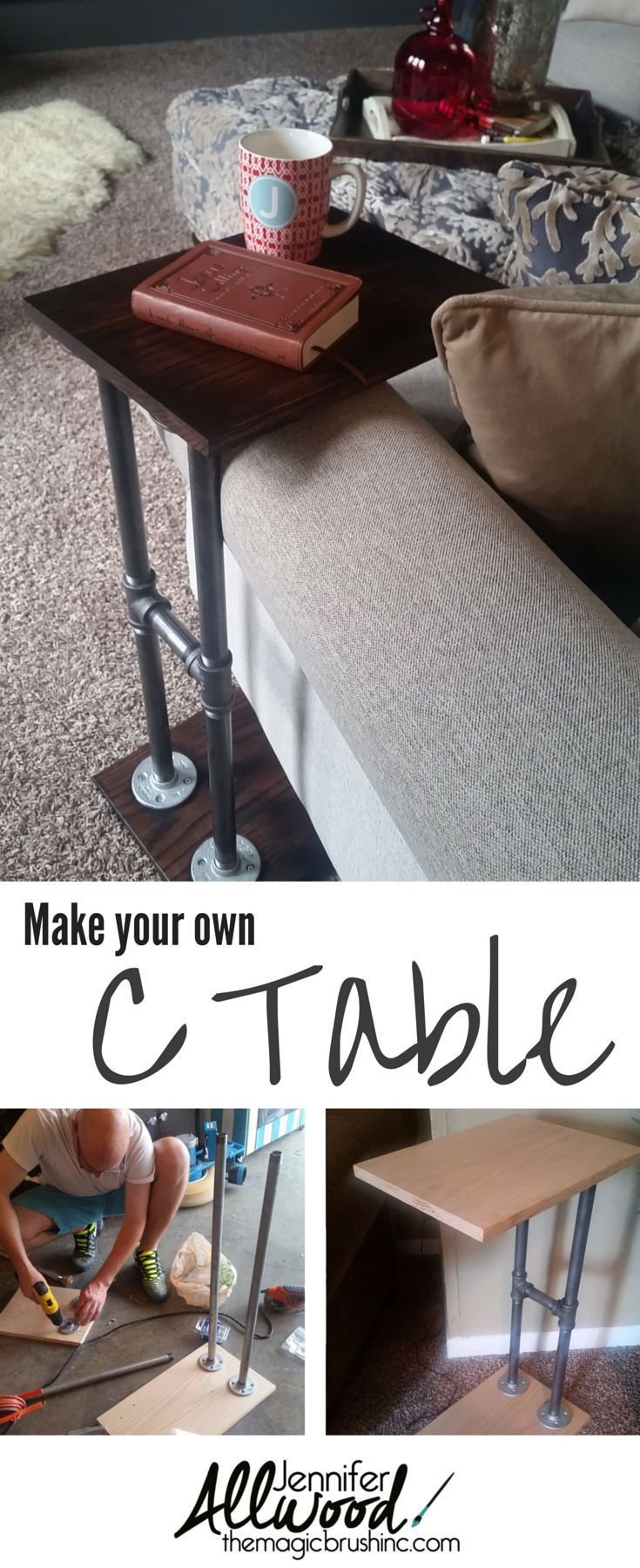 Info's : You'll never have to reach for that coffee mug again!  Make your own C table for armchairs! We used industrial pipes, flanges and stained oak wood pieces. Get instructions from Jennifer Allwood at TheMagicBrushinc.com #diy #diyhomedecor #armchair #homeprojects #howto #homedecor