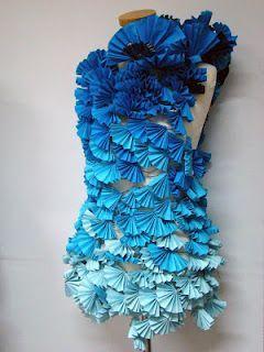 dress from assembled blue paper fans #wearableart